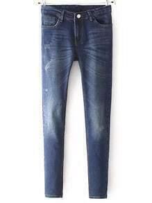 Blue Pockets Bleached Denim Pant