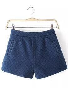 Blue Diamond Patterned Denim Shorts