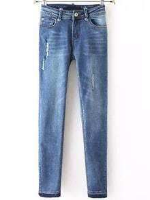 Blue Ripped Bleached Slim Denim Pant