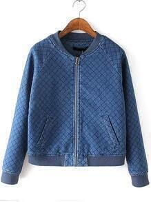 Blue Stand Collar Diamond Patterned Crop Jacket