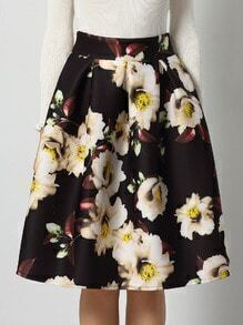 Black High Waist Floral Flare Skirt