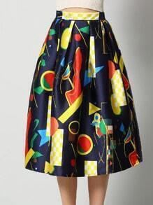 Colour High Waist Abstract Print Flare Skirt