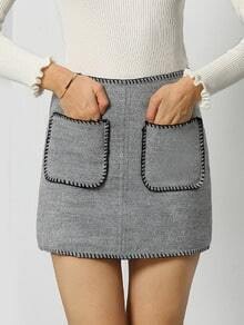 Grey Pockets Peplum Trims Skirt