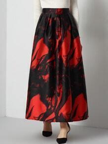 Black Red Ink Print Long Skirt