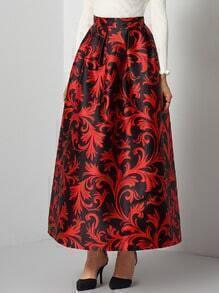 Black Red Floral Long Skirt