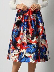 Colour Floral Flare Skirt