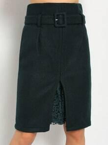 Green Belt Split Woolen Skirt