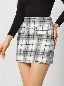 Grey White Plaid Bodycon Skirt