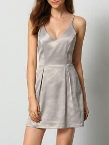 Grey Criss Cross Back Backless Dress