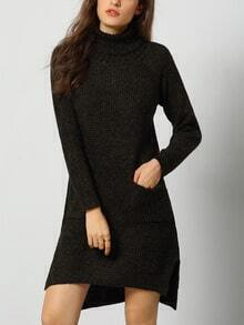 Dark Green High Neck High Low Sweater Dress