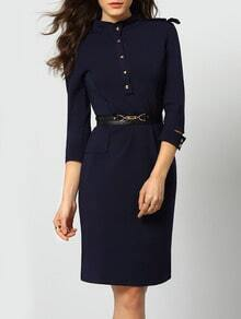 Navy Stand Collar Epaulet Zipper Back Dress