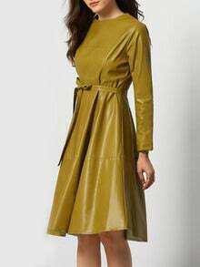 Green Round Neck Tie-Waist PU Dress