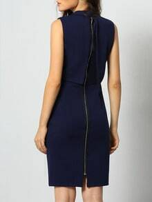 Navy Stand Collar Sleeveless Zipper Dress