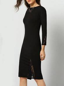Black V Back Lace Slim Dress