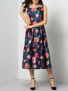 Colour Round Neck Sleeveless Floral Dress
