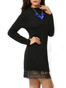 Black Round Neck Slim Split Lace Dress