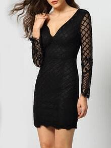 Black V Neck Backless Sheer Mesh Dress