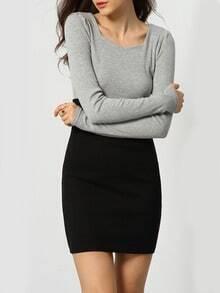 Colour-block Scoop Neck Bodycon Sweater Dress