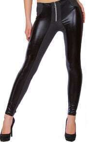 Grey Skinny Zipper PU Leggings