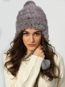 Grey Twisted Ball Faux Fur Hat