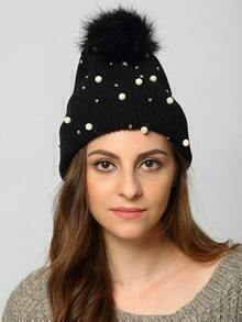 Black Twisted Ball Bead Hat