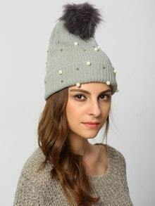 Grey Twisted Ball Bead Hat