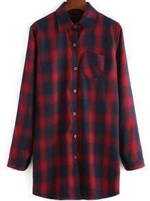 Red Blue Lapel Plaid Pocket Loose Blouse