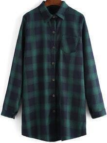 Green Black Lapel Plaid Pocket Loose Blouse