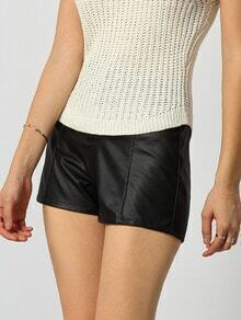 Black Elastic Waist Zipper PU Shorts