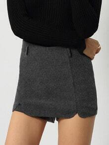Grey Slim Notch Skirt Shorts