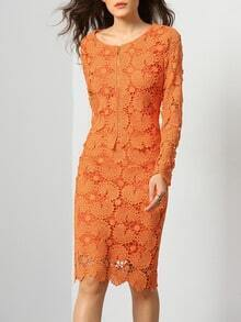 Orange Floral Crochet Lace Top With Skirt