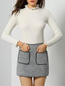 White Frill Neck Long Sleeve Slim Knitwear