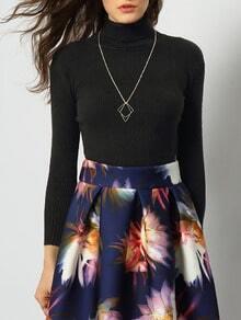 Black High Neck Long Sleeve Skinny Knitwear