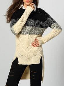 Apricot Black Ombre Dip Hem Sweater