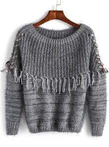 Grey Round Neck Tassel Mohair Sweater