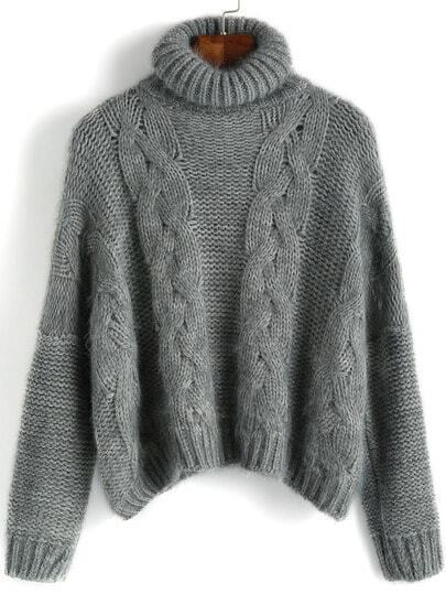 Grey High Neck Crop Mohair Sweater