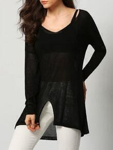 Black V Neck Sheer Split Loose Knitwear