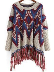 Colour Round Neck Tribal Print Tassel Sweater