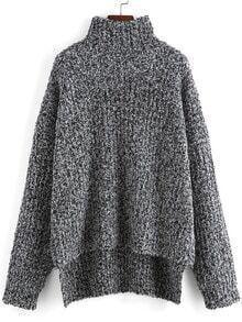 Grey High Neck Dip Hem Loose Sweater