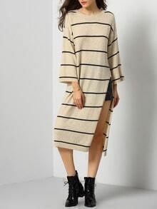 Apricot Round Neck Striped Split Long Sweater