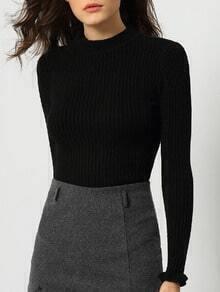 Black Mock Neck Slim Crop Knitwear