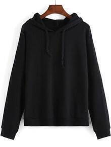 Black Hooded Long Sleeve Loose Sweatshirt