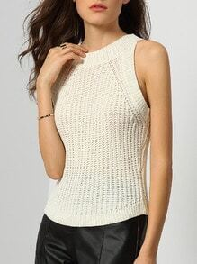 White Round Neck Slim Sweater Tank