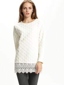 Apricot Round Neck With Lace Blouse