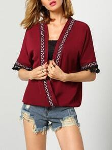 Red Deep V Neck Embroidered Tassel Blouse