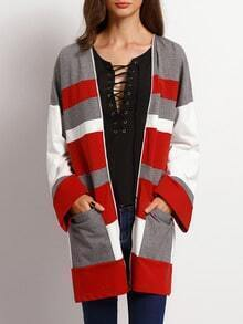 Burgundy White Long Sleeve Pockets Color Block Coat