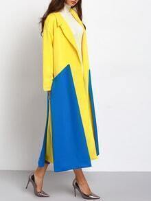 Yellow Blue Long Sleeve Lapel Color Block Coat