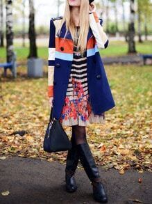 Blue Khaki Long Sleeve Color Block Coat