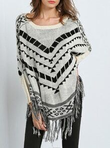 Grey Batwing Sleeve Geometric Print Tassel Sweater