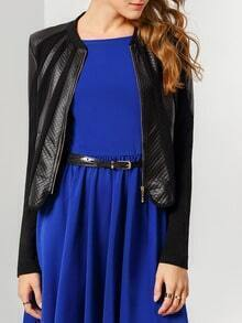Black Long Sleeve Contrast PU Leather Jacket